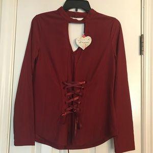 NWT Burgundy long sleeve blouse. // size M.